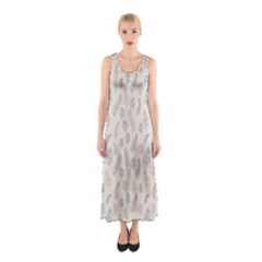 Whimsical Feather Pattern, Nature Brown, Sleeveless Maxi Dress
