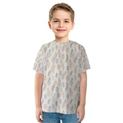 Whimsical Feather Pattern, Nature Brown, Kid s Sport Mesh Tee
