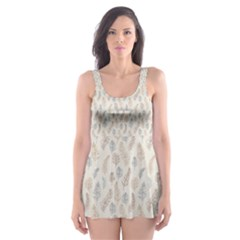 Whimsical Feather Pattern, Nature Brown, Skater Dress Swimsuit