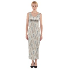 Whimsical Feather Pattern, Nature Brown, Fitted Maxi Dress