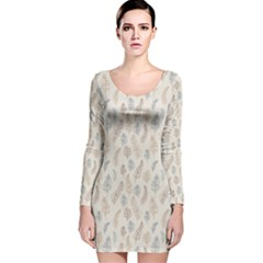 Whimsical Feather Pattern, Nature Brown, Long Sleeve Velvet Bodycon Dress