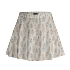 Whimsical Feather Pattern, Nature Brown, Mini Flare Skirt