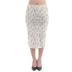 Whimsical Feather Pattern, Nature Brown, Midi Pencil Skirt