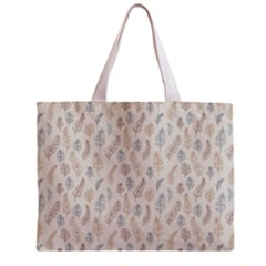 Whimsical Feather Pattern, Nature brown, Zipper Mini Tote Bag