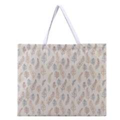 Whimsical Feather Pattern, Nature brown, Zipper Large Tote Bag