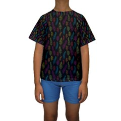 Whimsical Feather Pattern, Bright Pink Red Blue Green Yellow, Kid s Short Sleeve Swimwear
