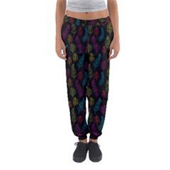 Whimsical Feather Pattern, Bright Pink Red Blue Green Yellow, Women s Jogger Sweatpants