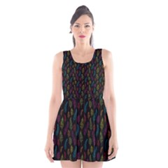 Whimsical Feather Pattern, Bright Pink Red Blue Green Yellow, Scoop Neck Skater Dress