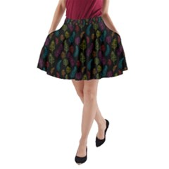 Whimsical Feather Pattern, Bright Pink Red Blue Green Yellow, A-Line Pocket Skirt