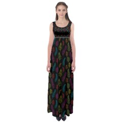 Whimsical Feather Pattern, Bright Pink Red Blue Green Yellow, Empire Waist Maxi Dress