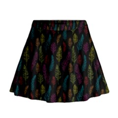 Whimsical Feather Pattern, Bright Pink Red Blue Green Yellow, Mini Flare Skirt