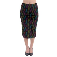 Whimsical Feather Pattern, Bright Pink Red Blue Green Yellow, Midi Pencil Skirt