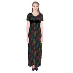 Whimsical Feather Pattern, Bright Pink Red Blue Green Yellow, Short Sleeve Maxi Dress