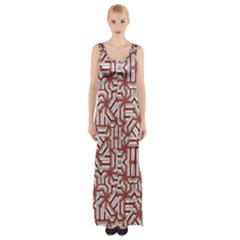 Interlace Tribal Print Maxi Thigh Split Dress