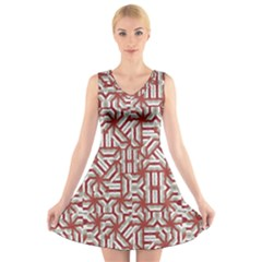 Interlace Tribal Print V Neck Sleeveless Skater Dress