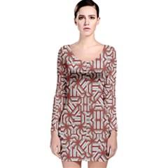 Interlace Tribal Print Long Sleeve Velvet Bodycon Dress