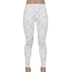 Whimsical Feather Pattern, soft colors, Yoga Leggings