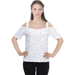 Whimsical Feather Pattern, Soft Colors, Women s Cutout Shoulder Tee