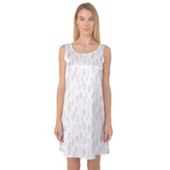 Whimsical Feather Pattern, soft colors, Sleeveless Satin Nightdress