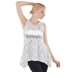 Whimsical Feather Pattern, Soft Colors, Side Drop Tank Tunic