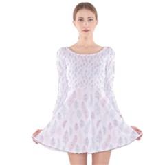Whimsical Feather Pattern, soft colors, Long Sleeve Velvet Skater Dress