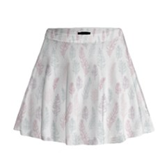 Whimsical Feather Pattern, Soft Colors, Mini Flare Skirt