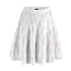 Whimsical Feather Pattern, soft colors, High Waist Skirt