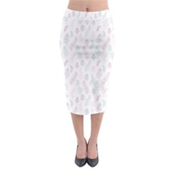 Whimsical Feather Pattern, soft colors, Midi Pencil Skirt