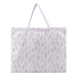 Whimsical Feather Pattern, Soft Colors, Zipper Large Tote Bag