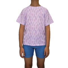 Whimsical Feather Pattern, pink & purple, Kid s Short Sleeve Swimwear