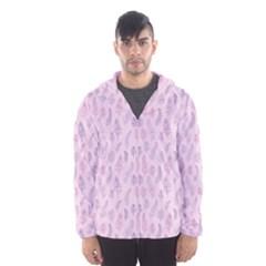 Whimsical Feather Pattern, pink & purple, Hooded Wind Breaker (Men)
