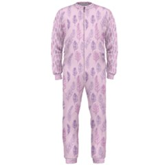 Whimsical Feather Pattern, pink & purple, OnePiece Jumpsuit (Men)
