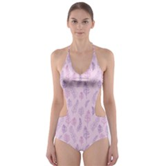 Whimsical Feather Pattern, pink & purple, Cut-Out One Piece Swimsuit