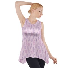 Whimsical Feather Pattern, Pink & Purple, Side Drop Tank Tunic