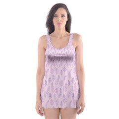 Whimsical Feather Pattern, pink & purple, Skater Dress Swimsuit