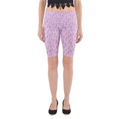 Whimsical Feather Pattern, pink & purple, Yoga Cropped Leggings