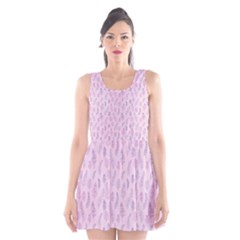 Whimsical Feather Pattern, pink & purple, Scoop Neck Skater Dress