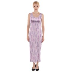 Whimsical Feather Pattern, pink & purple, Fitted Maxi Dress