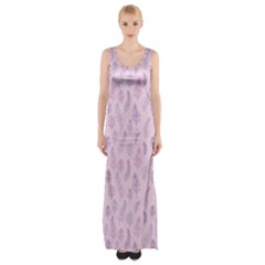 Whimsical Feather Pattern, pink & purple, Maxi Thigh Split Dress