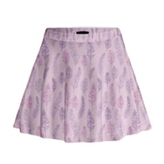Whimsical Feather Pattern, pink & purple, Mini Flare Skirt