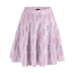 Whimsical Feather Pattern, Pink & Purple, High Waist Skirt