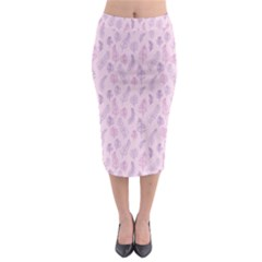 Whimsical Feather Pattern, Pink & Purple, Midi Pencil Skirt
