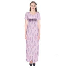 Whimsical Feather Pattern, Pink & Purple, Short Sleeve Maxi Dress