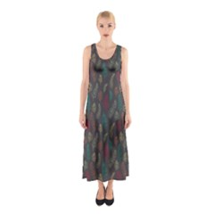 Whimsical Feather Pattern, autumn colors, Sleeveless Maxi Dress