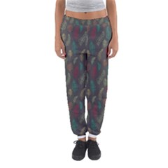 Whimsical Feather Pattern, autumn colors, Women s Jogger Sweatpants