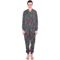 Whimsical Feather Pattern, autumn colors, Hooded Jumpsuit (Ladies)