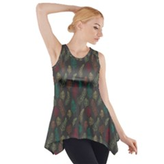Whimsical Feather Pattern, autumn colors, Side Drop Tank Tunic