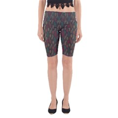 Whimsical Feather Pattern, autumn colors, Yoga Cropped Leggings