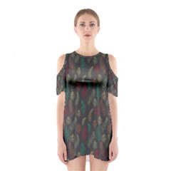 Whimsical Feather Pattern, autumn colors, Cutout Shoulder Dress