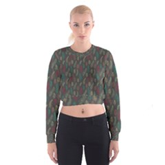 Whimsical Feather Pattern, autumn colors, Women s Cropped Sweatshirt